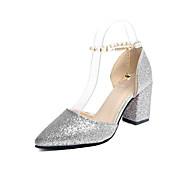 נשים נעליים PU סתיו נוחות נעלי אוקספורד עקב נמוך בוהן עגולה שרוכים עבור שמלה זהב שחור כסף