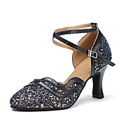 Dame Moderne Glimtende Glitter Sandaler Høye hæler Joggesko Innendørs Glimtende Glitter Strå Stiletthæl Svart Sølv Grønn Blå 8,5 cm Kan