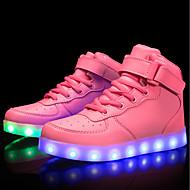 tanie Obuwie dziewczęce-Dla dziewczynek Obuwie Materiał do wyboru / Derma Wiosna i lato Wygoda / Świecące buty Adidasy Spacery Sznurowane / Haczyk i pętelka / LED na Czerwony / Niebieski / Różowy
