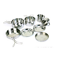 cheap Cookware-Outdoor stainless steel 8 - piece pan - climbing camping portable set of a bowl barbecue cooker