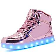 tanie Obuwie dziewczęce-Dla dziewczynek Obuwie Skóra patentowa / Materiał do wyboru Jesień Wygoda / Świecące buty Adidasy Spacery Sznurowane / Haczyk i pętelka / LED na Czarny / Niebieski / Różowy