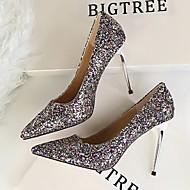 Feminino Sapatos Couro Envernizado Primavera Outono Conforto Plataforma Básica Saltos Para Casual Branco Preto Prata Arco-íris Vermelho
