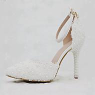 billige Bryllupssko-Dame Sko PU Vår / Høst Komfort / Original bryllup sko Spisstå Perle / Appliqué / Spenne Hvit / Bryllup / Fest / aften