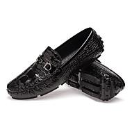 Herrn Schuhe Leder Herbst / Winter Komfort / Neuheit / Tauchschuhe Loafers & Slip-Ons Walking Schwarz / Silber / Dunkelblau