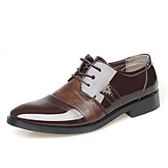 גברים נעליים PU אביב סתיו חורף נוחות נעלי אוקספורד עבור קזו'אל שחור חום בהיר