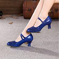 baratos Sapatilhas de Dança-Mulheres Sapatos de Dança Moderna Glitter / Paetês Salto Gliter com Brilho / Presilha Salto Cubano Sapatos de Dança Vermelho / Azul /