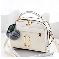 Women Bags All Seasons PU Shoulder Bag Zipper for Casual White Black Red