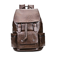 Men Bags All Seasons PU Backpack Buttons Pockets Zipper for Outdoor Traveling Black Brown