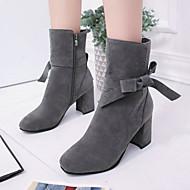 Feminino Sapatos Veludo Outono Inverno Botas da Moda Coturnos Botas Ponta Redonda Botas Cano Médio Laço Ziper Para Social Preto Cinzento