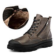 お買い得  靴 プラスサイズ-男性用 靴 ナパ革 冬 秋 フラフライニング コンフォートシューズ ブーツ ミドルブーツ ジッパー のために カジュアル パーティー ブラック Brown