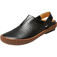 cheap Men's Clogs & Mules-Men's Shoes Leather Spring / Fall Comfort Clogs & Mules Black / Brown