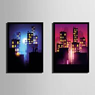 billige Innrammet kunst-Arkitektur Tegneserie abstrakt Innrammet Lerret Innrammet Sett Veggkunst,PVC Materiale med ramme For Hjem Dekor Rammekunst Stue Kjøkken