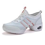 billige Dansesneakers-Dame Dansesko Tyll Joggesko Tvinning Flat hæl Dansesko Hvit / Svart / Trening