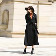 Feminino Casaco Casual Trabalho Simples Vintage Outono Inverno,Sólido Longo Cashmere Lã Poliéster Lapela Chanfrada Manga Longa