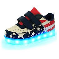 baratos Sapatos de Menino-Para Meninos Sapatos Couro Primavera Conforto / Inovador / Tênis com LED Tênis Velcro / LED para Azul