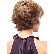 Women Synthetic Wig Capless Short Straight Brown Side Part Layered Haircut With Bangs Natural Wigs Costume Wig