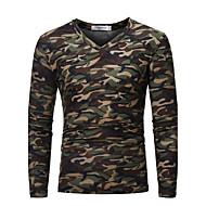 Veći konfekcijski brojevi Majica s rukavima Muškarci - Vojni Vikend kamuflaža V izrez Slim Pamuk