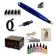 billige Tatoveringssett for nybegynnere-Tattoo Machine Startkit 1 x roterende tatoveringsmaskin til lining og skyggelegging 15W 5 x engangsgrep 5 stk tattoo Nåler