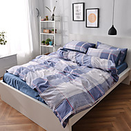 Duvet Cover Sets Geometric 4 Piece Cotton Reactive Print Cotton 1pc Duvet Cover 2pcs Shams 1pc Flat Sheet