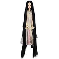 Naisten Synteettiset peruukit Suojuksettomat Hyvin pitkä Kinky Straight Jet Black Doll Wig Rooliasu peruukki