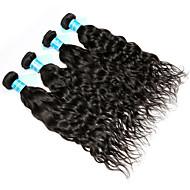 Cabelo Humano Cabelo Malaio Cabelo Humano Ondulado Ondas Leves Extensões de cabelo 4 Peças Preto