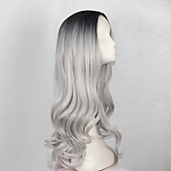 Synthetic Wig Wavy Style Capless Wig Gray Black / Grey Synthetic Hair Women's Gray Wig Long Cosplay Wig
