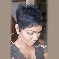 Women Human Hair Capless Wigs White Black Short Straight Side Part
