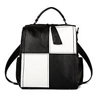 tanie Plecaki-Damskie Torby PU plecak Zamek Czarny / Czarny biały