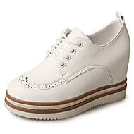 נשים נעליים PU סתיו נוחות נעלי אוקספורד מטפסים בוהן עגולה שרוכים עבור קזו'אל לבן שחור