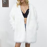 Χαμηλού Κόστους -Γυναικεία Μεγάλα Μεγέθη Γούνινο παλτό Μονόχρωμο Ψεύτικη Γούνα Λαιμόκοψη V