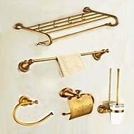 cheap Antique Brass Series-Bathroom Accessory Set High Quality Antique Brass 5pcs - Hotel bath Toilet Brush Holder tower ring tower bar Toilet Paper Holders Wall