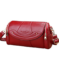 baratos -Mulher Bolsas Couro de Gado Bolsa Transversal Ziper para Casual Todas as Estações Preto Vermelho Roxo Vermelho Escuro