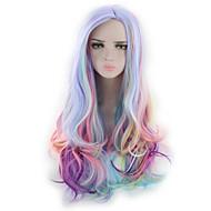 billige -Kvinder Syntetiske parykker Lokkløs Lang Bølgete Naturlige bølger Dype bølger Regnbue Cosplay-parykk Lolita Parykk Festparykk Halloween