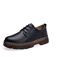 cheap Women's Oxfords-Women's Shoes Cowhide Spring Fall Comfort Oxfords Flat Heel Round Toe Lace-up For Casual Burgundy Black