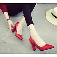 Naiset Kengät PU Kevät Syksy Comfort Korkokengät Käyttötarkoitus Kausaliteetti Harmaa Punainen Burgundi