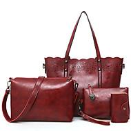 Kadın Çantalar PU 4 Adet Çanta Seti Fermuar için Günlük Tüm Mevsimler Siyah Drak Red Gri Koyu Kahverengi