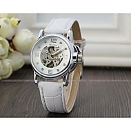 cheap Mechanical Watches-WINNER Women's Automatic self-winding Wrist Watch Hollow Engraving Leather Band Sparkle Vintage Casual Dress Watch Fashion Cool White