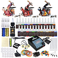 cheap Discount Tattoo Kits-Tattoo Machine Starter Kit 3 alloy machine liner & shader LCD power supply 2 x aluminum grip 20 pcs Tattoo Needles