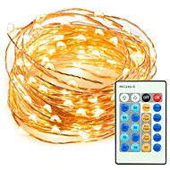 33ft 100 led string koperdraad lichten dimbaar met afstandsbediening waterdichte decoratieve verlichting voor slaapkamer tuinfeestjes