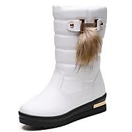 お買い得  レディースブーツ-女性用 靴 レザーレット ラバー 冬 スノーブーツ ブーツ ミドルブーツ のために カジュアル ホワイト ブラック Brown