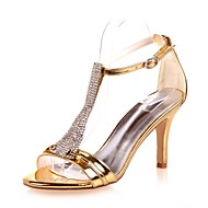 cheap Women's Sandals-ADOR® Women's Shoes Patent Leather Spring / Summer Basic Pump Sandals Stiletto Heel Open Toe Rhinestone Gold / Silver / Blue / Wedding