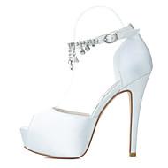 baratos Sapatos Femininos-Mulheres Cetim Primavera / Verão Salto Agulha Pedrarias Prateado / Azul / Púrpura / Casamento / Festas & Noite