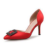Feminino Sapatos Seda Primavera Outono Conforto Inovador Saltos Salto Agulha Dedo Apontado Apliques Gliter com Brilho Para Casamento