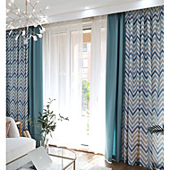 cheap Curtains & Drapes-Grommet Top Double Pleat Pencil Pleat Curtain Contemporary Casual Stripe Living Room Polyester Material Curtains Drapes Home Decoration