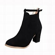 Mujer Zapatos Cuero Patentado Primavera / Otoño Confort / Innovador Botas Dedo cuadrada Mitad de Gemelo Cremallera / Cadena Negro / Beige s6ZW0eT1V