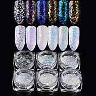 Χαμηλού Κόστους Χριστούγεννα Nail Art-6pcs Ακρυλικό σε σκόνη Γκλίτερ Πούλιες 6 χρώματα τέχνη νυχιών Μανικιούρ Πεντικιούρ Κομψό & Πολυτελές / Φανταχτερό / Laser Holographic