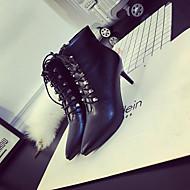 Naiset Kengät PU Kevät Comfort Sandaalit Paksu korko Käyttötarkoitus Musta Vaaleanruskea