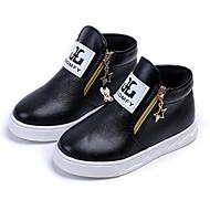 Недорогие -Мальчики обувь Полиуретан Зима Осень Удобная обувь Модная обувь Ботинки Для прогулок Ботинки Молнии для Повседневные Белый Черный Красный