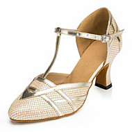 tanie Obuwie do tańca-Damskie Taniec nowoczesny Derma Sandały Adidasy Profesjonalne Gruby obcas Gold Black