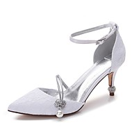 cheap Wedding Shoes-Women's Shoes Lace Satin Spring Summer Comfort Wedding Shoes Pointed Toe Rhinestone Bowknot Sparkling Glitter Hollow-out For Wedding